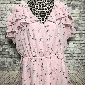 Pink Floral Ruffle Shirt by Lane Bryant BNWT